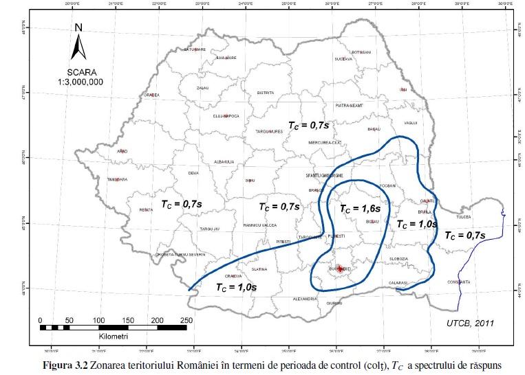proiectare constructii harta zonarii seismice in functie de Tc perioada de colt